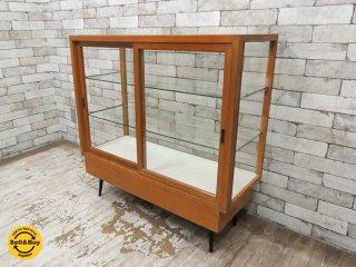 ジャパンビンテージ japan vintage 古い木味のショーケース ガラスケース ●
