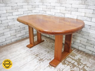 BC工房 欅無垢材 一枚板 ダイニングテーブル カフェテーブル 作業台 美品 ●