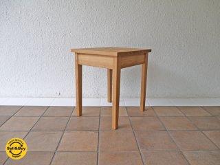 無印良品 MUJI サイドテーブル ナイトテーブル 引出し付き タモ材 無垢材 廃番 ◇