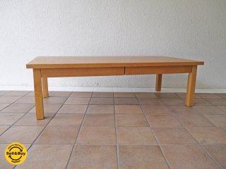 無印良品 MUJI 無垢材 ローテーブル 引出し付 オーク材 定価:34,900円 ◇