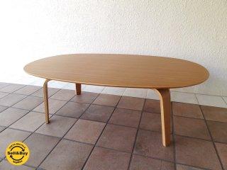 無印良品 MUJI オーバル ローテーブル 座テーブル プライウッド タモ材 W110 ◇
