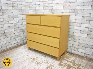 無印良品 MUJI オーク材 4段 木製チェスト ナチュラル ●