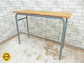 フランスビンテージ 古い木味のコンソールデスク カウンターテーブル ●