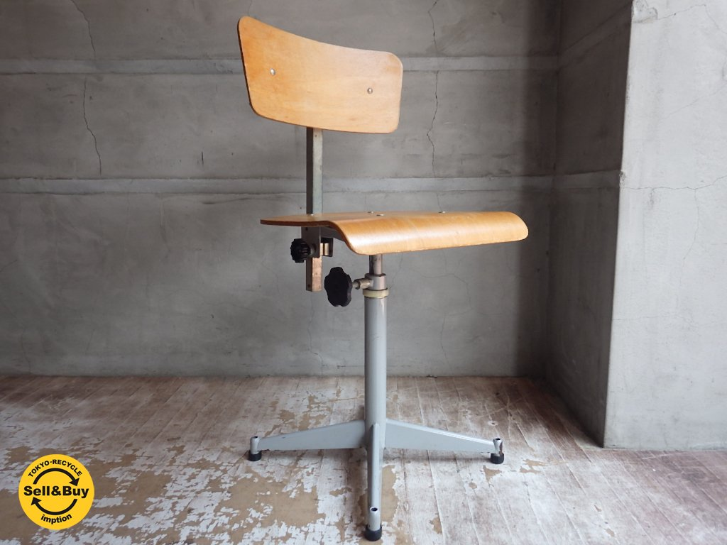 フランスヴィンテージ インダストリアル ドラフティングチェア 製図用椅子 ♪