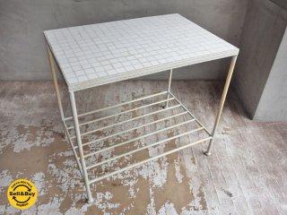 アイアン ホワイト タイルトップ ローテーブル サイドテーブル ♪