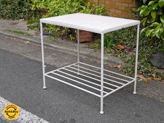 タイルトップ天板×アイアンフレーム サイドテーブル コーヒーテーブル 花台 ホワイト ■