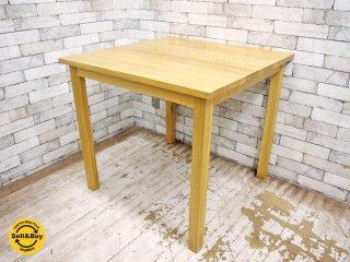 無印良品 MUJI オーク無垢材 ダイニングテーブル 正方形 幅80cm 2人掛け ナチュラルデザイン ●