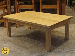 無印良品 MUJI 木製ローテーブル 引出付 w90cm タモ材 無垢集成材天板 ナチュラル ■