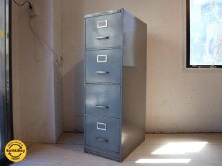 ビンテージ スチール ファイルキャビネット Vintage Steel File Cabinet 4段 ハンドルロック付 ★