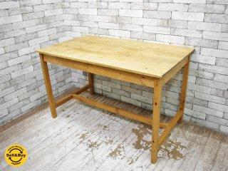 カントリースタイル パイン無垢材 テーブル ワーキングテーブル 作業台 ナチュラル ●
