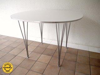 フリッツハンセン Fritz Hansen Bテーブル スーパー円テーブル B-Table 白ラミネートΦ100×アルミエッジ B403 定価24.3万 デンマーク 80'sビンテージ 北欧モダン ◇
