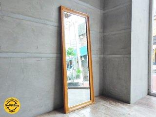 オーク材フレーム ウォールミラー 楢材 壁掛け鏡 ♪