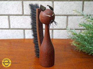 ビンテージ チーク材 木製ブラシ 猫 キャット オブジェ 北欧 スウェーデン ■