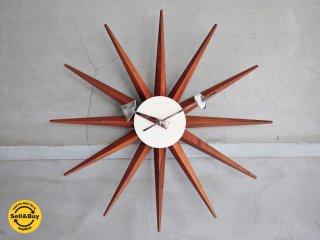 ヴィトラ Vitra サンバースト Sunburst Clock 壁掛け時計 ウォールクロック ジョージネルソン George Nelson ウォールナット ♪