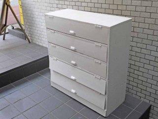ビンテージ 木味 ホワイトペイント 木製ラック キャビネット フラップ扉 下駄箱 ■