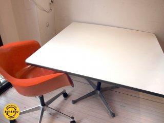 ハーマンミラー Herman Miller スクエアテーブル Square table コントラクトベース 正方形 メラミン天板 チャールズ&レイ・イームズ C&R Eames IBMプレート ★