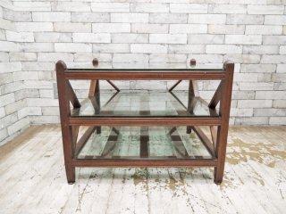ビンテージスタイル ガラス ローテーブル 木製フレーム 3段 ●