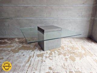 モーダエンカーサ moda en casa フライングテーブル FLYING TABLE コンクリートベース ガラス ローテーブル 定価 \51,840 ♪