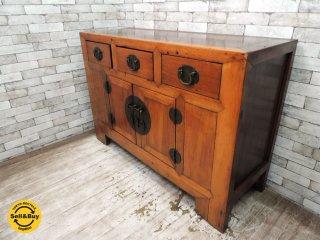 アジアン家具 無垢材 サイドボード キャビネット 収納家具 引き出し3杯 李朝 チャイニーズスタイル ●