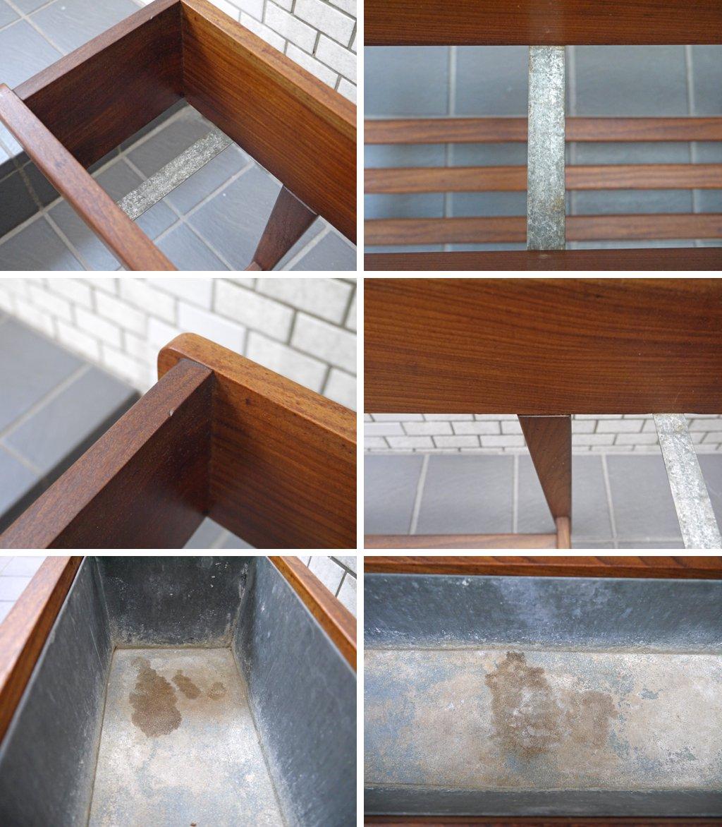 デンマーク ビンテージ チーク材 プランタースタンド フラワースタンド ブリキボックス 北欧家具 ■