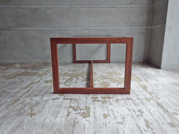 高野木工 キューブ CUBE ウォールナット ガラス ローテーブル リビングテーブル ♪