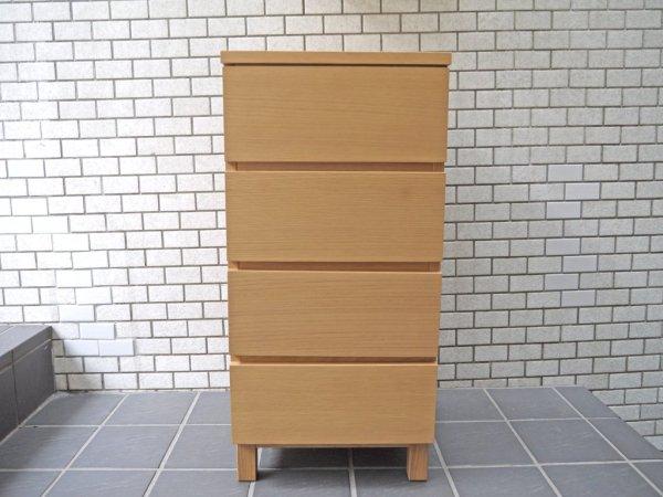 無印良品 MUJI 木製チェスト 4段 オーク材 スリム フルオープン ナチュラルウッド シンプルモダンデザイン 美品 ■