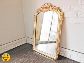 クラシックスタイル ゴールドフレーム ウォールミラー フランス ローズ ミラー 鏡 ◎