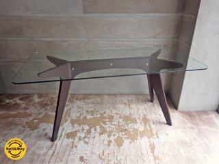 イーアンドワイ E&Y ペガサス PEGASUS ガラス ダイニングテーブル ブラウン アレックス・マクドナルド Alex Macdonald 幅160cm ♪