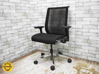 スチールケース Steelcase シンクチェア Think chair デスクチェア オフィスチェア アーム付き 布張り×メッシュ ●