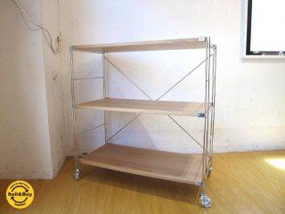 無印良品 MUJI ステンレスユニットシェルフ Stainless unit shelf オーク板 キャスター付 3段 ★