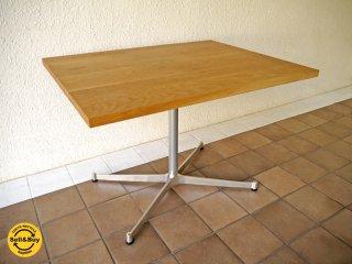 グリニッチ greeniche カフェテーブル W90×D70 オーク無垢トップ & Xレッグ 定価¥50,760- 状態良好 ダイニングテーブル ナチュラル リビングテーブル  現行◇