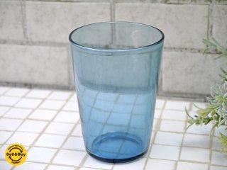 辻和美 グラス コップ ブルー ハンドブロー 手吹き 2011年 factory zoomer 刻印 B ■