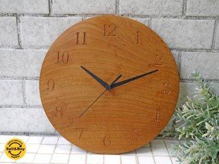 三谷龍二 山桜 掛け時計 ラウンドウォールクロック 無垢材 ■