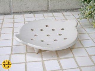 安藤雅信 オランダ水切皿 プレート 径11cm 白マット釉 器 ギャルリ百草 現代作家 ■