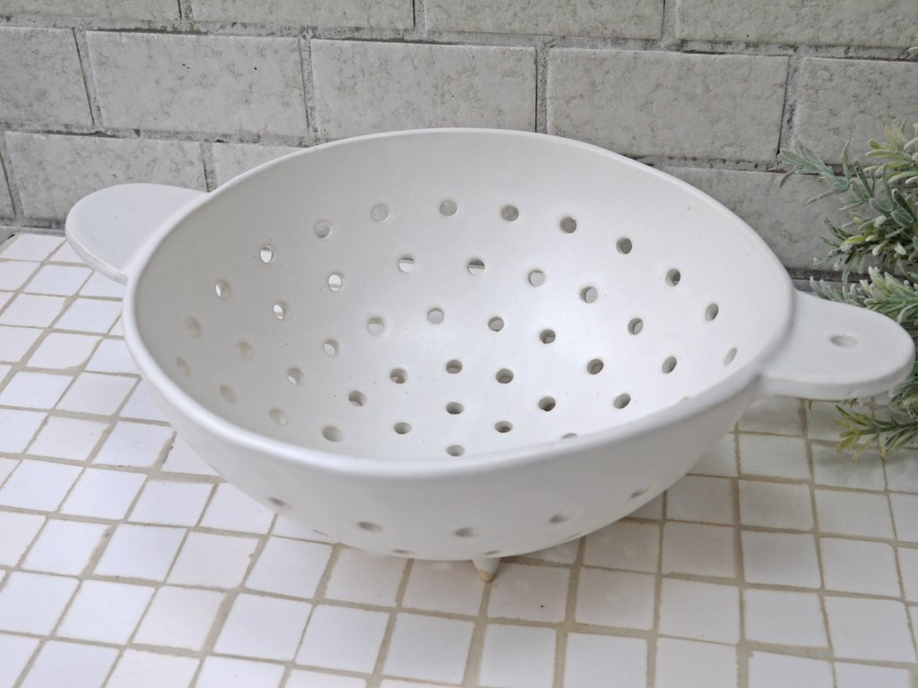 安藤雅信 オランダ水切鉢 径19cm 白マット釉 器 ギャルリ百草 現代作家 ■
