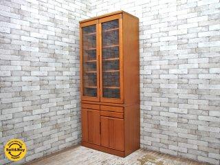 起立木工 Kiritsu Mokko チーク材 食器棚 キャビネット カップボード ビンテージ ●