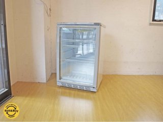 レマコム REMACOM 圧縮式 冷蔵ショーケース 60リットル RCS-60 小型冷蔵庫 前面ペアガラス仕様 左開きスイングドア 後脚キャスター付 ★