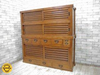 ジャパンビンテージ Japan vintage 古い木味の水屋箪笥 大型キャビネット ●