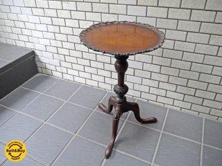 UKビンテージ サイドテーブル ワインテーブル ジョージアン様式 マホガニー材 花台 英国家具 ■