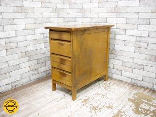 ジャパンビンテージ Japan vintage 木製 袖机 木味 ●