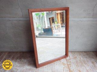 チーク材フレーム ヴィンテージ ウォールミラー 壁掛け鏡♪