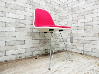 ハーマンミラー Herman Miller サイドシェルチェア Side shell chair エッフェルベース チャールズ & レイ・イームズ ファブリック ダークピンクカラー ●