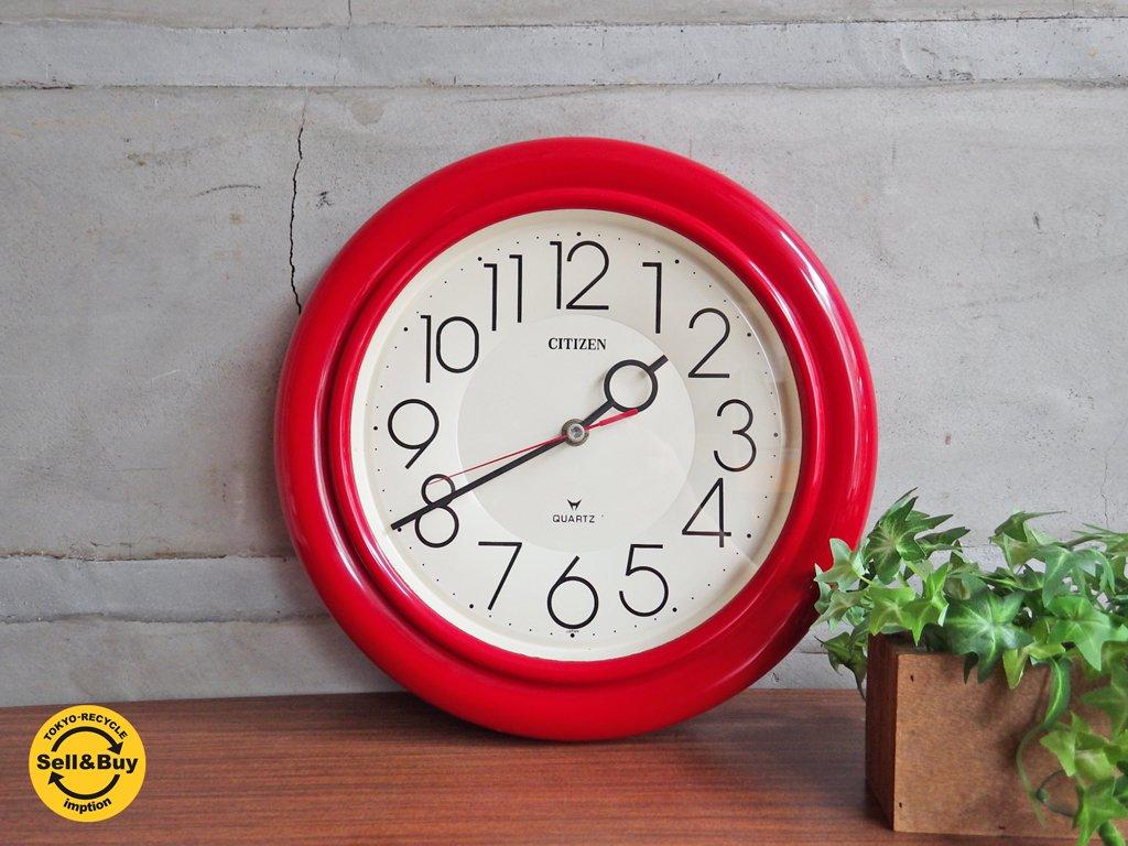 シチズン Citizen 掛け時計 ウォールクロック クォーツ レッドカラー