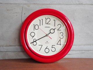 シチズン CITIZEN 掛け時計 ウォールクロック クォーツ レッドカラー レトロポップ ♪