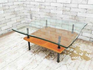ドリームベッド dream bed ガラス センターテーブル サイドテーブル モダンデザイン アクタス購入 廃盤品●