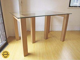 オーク 無垢材 ガラストップ ダイニングテーブル ガラス天板×無垢材フレーム シンプルモダン 幅120cm ★