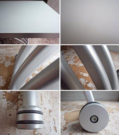オッジオ OZZIO ガラス × アルミ 天板 昇降伸長式 リフティングテーブル ♪