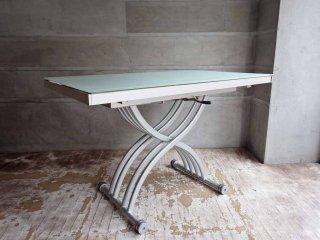 オッジオ OZZIO ガラス × アルミ 天板 伸長式テーブル ♪