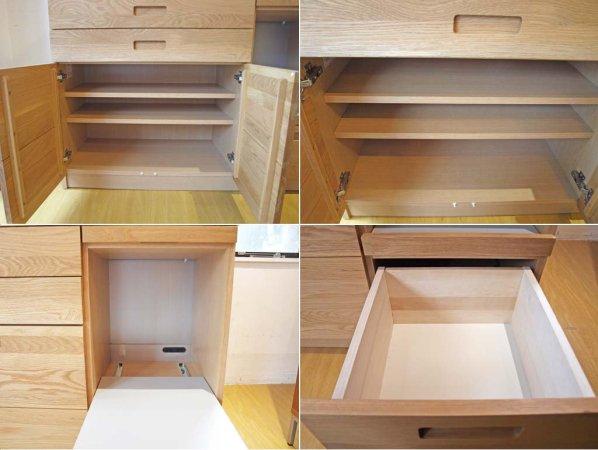 ウニコ unico ヒュッテ HUTTE オープン キッチンカウンター オーク無垢材 スライドボード付 メラミントップ ★