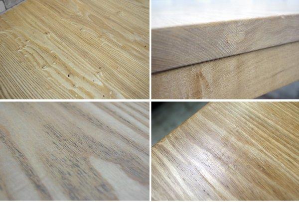 タモ無垢材 ダイニングテーブル ナチュラルスタイル クラフト系 シンプル アッシュ  W120 A ●